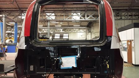 Sections of the new Bombardier train are being prepared for assembly at its Derby factory. Picture: