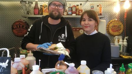 Rob and Jen Dunn on their vegan food stall at Ipswich Market. Picture: PAUL GEATER
