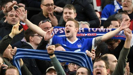 Ipswich Town fans celebrate taking the lead at Carrow Road - but their joy was short-lived. Picture: