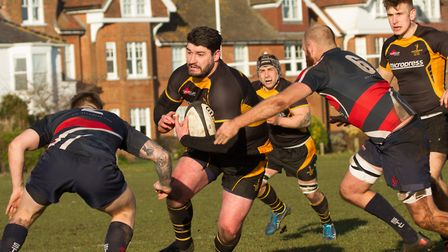Southwold's Matt Howells on the carry against Stowmarket. Picture: LINDA CAYLEY