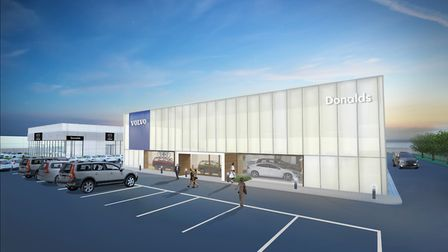 An artist's impression of Donalds' new Volvo dealership, next door to the group's new Mazda site at