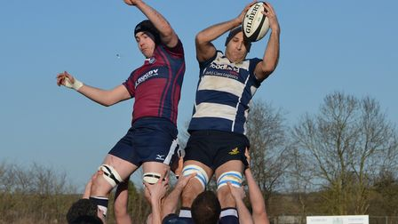 Chelmsford win a line-out in their defeat against Sudbury. Picture: CHELMSFORD RUGBY CLUB