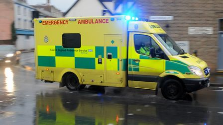 Ambulance staff have been called to treat a woman after a crash in Combs Lane. Picture: SIMON PARKER