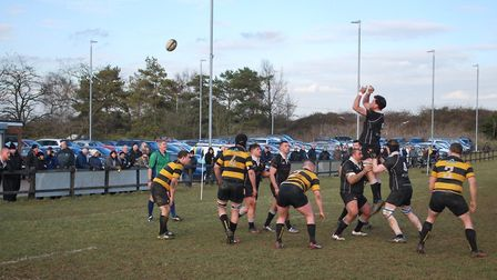 Liam Pickett leaps for a line-out for Colchester. Picture: MAGGIE WHITEMAN