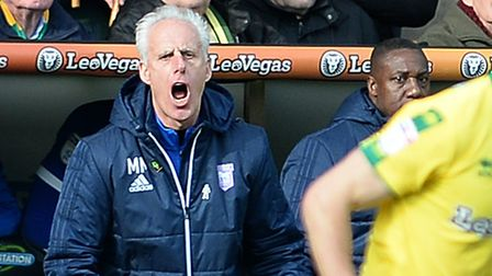 Mick McCarthy at Carrow Road on Sunday. Picture Pagepix