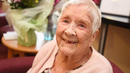 Evelyn Dixon celebrating her 103rd birthday with family, friends and staff at Melford Court. Picture