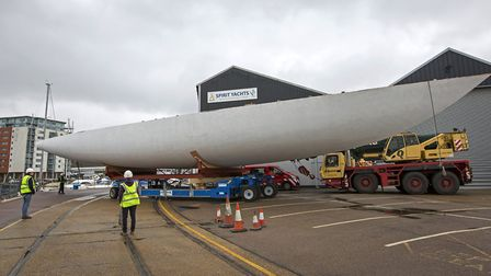 """The hull of the Spirit111 superyacht makes the short journey back inside following its """"rollover""""."""
