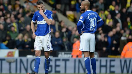 Cole Skuse and David McGoldrick react to Norwich City's late equaliser on Sunday. Photo: Pagepix Ltd