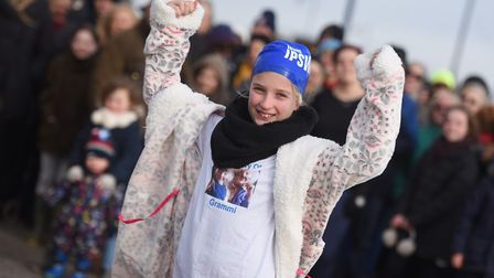 Triumphant Ellie Kirk just before her big dip, which has now let to Ipswich Town FC making her a Com
