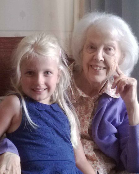 Ellie Kirk with her great-grandmother Ellen Ward. Picture: FAMILY