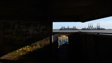A view of the Port of Felixstowe from the site. Picture: JOE GIDDENS/PA WIRE