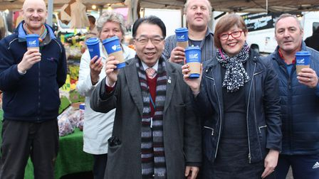 Left to right: Darren Old, spokesman for the Bury St Edmunds Market Traders, Linda Oulds, of Henry's