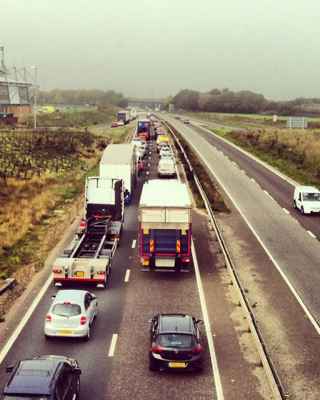 A queue of traffic. Picture: SARAH BROWN
