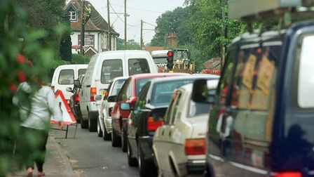 Traffic queue due to roadworks. Picture: JERRY TURNER