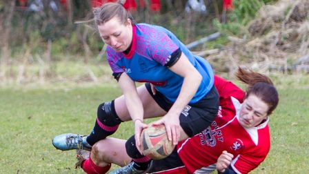 Claire Brickley scores for Woodbridge Amazons in their big win at Lakenham Hewitt. Picture: SIMON BA