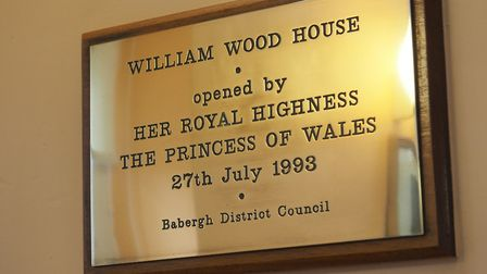 The plaque in William Wood House commemorating the visit of Diana, Princess of Wales, in 1993. Pictu
