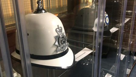Isle of Man police helmet at the Suffolk police museum. Picture: NEIL PERRY