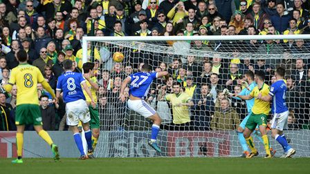 Norwich's Timm Klose equalises in the dying seconds of the match to grab a point for Norwich against