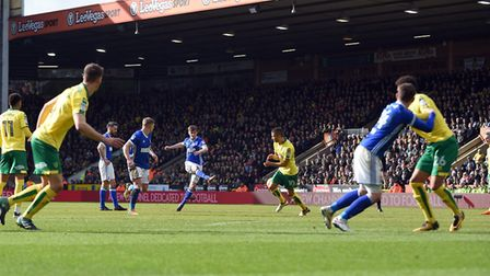 Callum Connolly fires a first half free-kick saved by Gunn in the Norwich goal Picture Pagepix