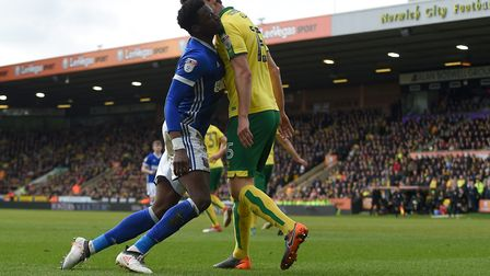 Dominic Iorfa lunges at Norwich's Tim Klose after he had accused him of diving at Norwich Picture P