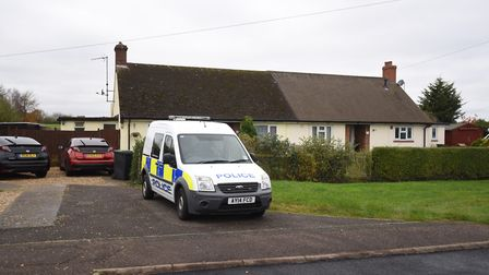 The scene in Beyton after Julie Feetham suffered fatal injuries. Picture: Archant