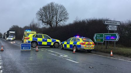 The scene of a crash on the A140 near Mendlesham. Picture: IAN CONDRON
