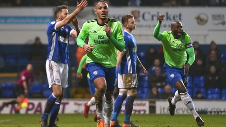 Cardiff City's Kenneth Zohore celebrates scoring his side's goal. PA