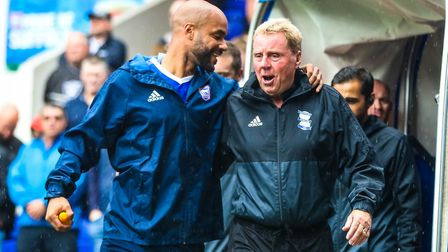 McGoldrick and Birmingham City manager Harry Redknapp pictured on the opening day of the season. Pic