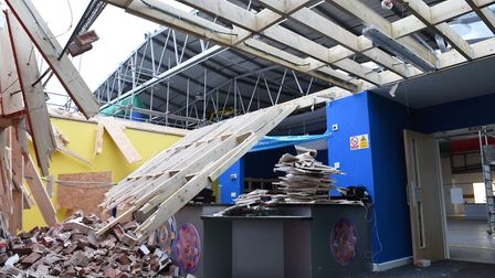The roof and wall of the main play area were ripped away by the wind. Picture: CONTRIBUTED