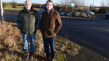 Local resident Dennis Ross (left) pictured with Ben Lord, parish council chairman. Picture: GREGG BR