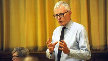 MP Norman Lamb speaking at the public meeting in Saxmundham. Picture: ARCHANT LIBRARY