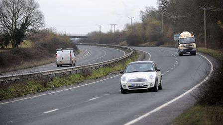 The A134 just north of Bury St Edmunds
