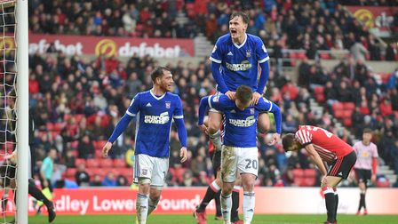 Ipswich celebrate the second goal at Sunderland Picture Pagepix
