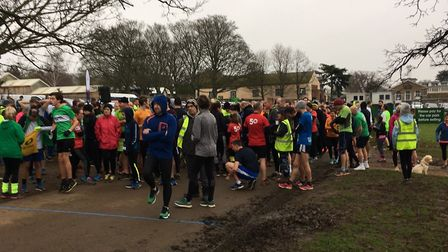 Runners, joggers and walkers congregate for the start of the 69th Kettering parkrun last Saturday. P