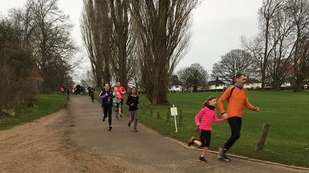 Runners on a descent during last Saturday's Kettering parkrun, which attracted a field of 407 to Wic