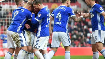 Ipswich players celebrate the second goal at Sunderland Picture Pagepix
