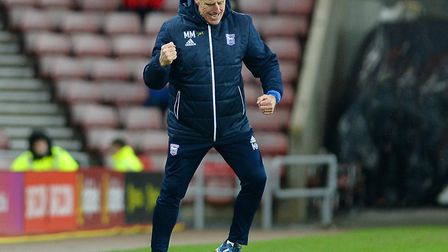 Mick McCarthy celebrates at the final whistle at Sunderland. Picture Pagepix