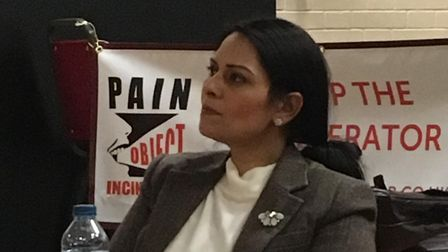 Priti Patel, MP for Witham, at a public meeting about the incinerator plans last month. Picture: ANN
