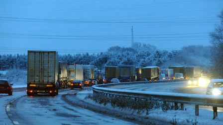 Traffic queues on the A14 following a crash (stock image). Picture: ANDY ABBOTT
