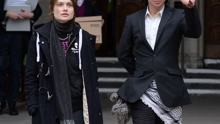Alleged computer hacker Lauri Love, and his girlfriend Sylvia Mann, outside the Royal Courts of Just
