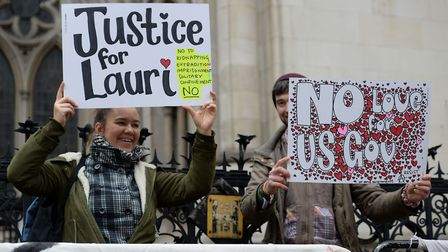 Supporters for alleged computer hacker Lauri Love outside the Royal Courts of Justice in London wher