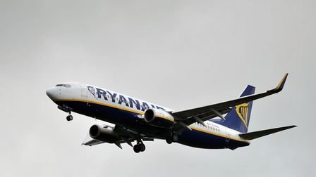 A file picture of a Ryanair plane approaching Stansted Airport. Photo: Nick Ansell/PA Wire