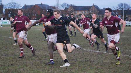 Joe Flexman chases his own grubber kick, which lead to a Colchester try. Photo: MAGGIE WHITEMAN.