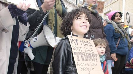 Shelly Darwin with son, Riaz, at the Ipswich Protest against Donald Trumps Muslim ban near the Gile