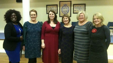 The panellists for the Fawcett Society debate in Bury St Edmunds on February 5 with organiser Eleano