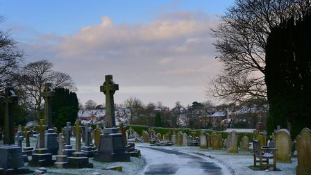 A light dusting of snow settled in the old cemetery. Picture: SARAH LUCY BROWN