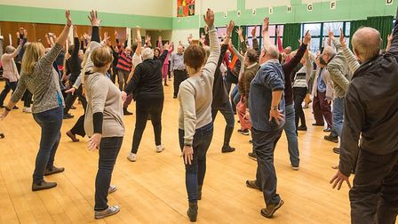 Choir and dancers at the first get together of ICS and DanceEast. Picture: MATTHEW CLARKE