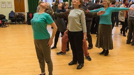Ipswich Choral Society and DanceEast at their first get-together - Sue Sinclair, at the front, is a