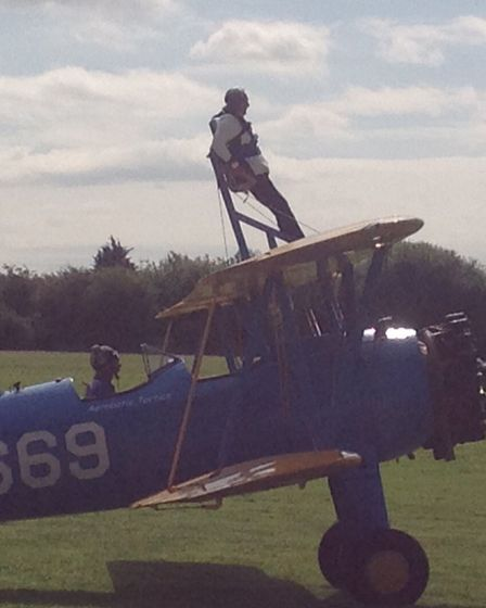 Jenny Holland takes to the skies for a charity wing walk. Photo: Norfolk and Norwich University Hos