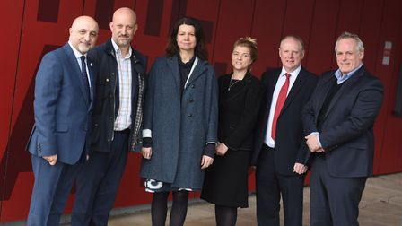 Key figures and speakers at the launch of the Suffolk Sustainability Institute - from left, Prof Moh
